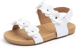 White Floral Design On Strap Used Childrens White Sandals Infant Size 7 24