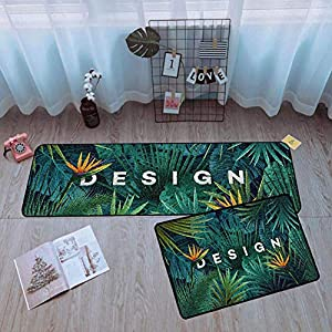 LXESWM 2 Pc Kitchen Rugs Set Non-Slip Kitchen Mats Kitchen rug mat green plants design, 2 pcs set, Nonslip Machine washable long Strip carpet Doormat bathroom bedroom accessories,B,40 * 60+40 * 120cm