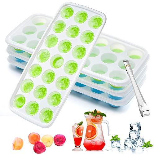 Aitsite Eiswürfelform, 4 Stück Silikon Eiswürfelbehälter Mit Deckel und Eisclip, Stapelbar und Spülmaschinenfest Eiswürfelformen, LFGB FDA Zertifiziert und BPA Frei Lebensmittelqualität Flexibel Silik