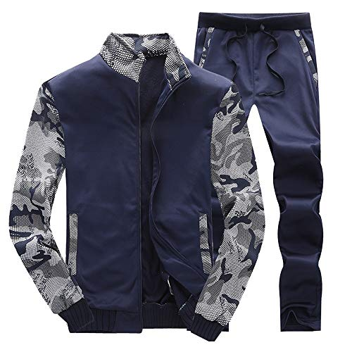 PASATO Clearance Sale!Autumn Winter Mens Tracksuit Warm Fleece Sport Sweatshirt Coat +Pants Sweat Suit Pocket Cargo(Navy, XL)