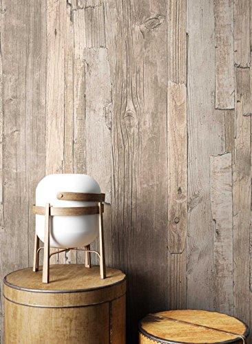 Holz Tapete Vlies Beige Braun Grau Edel | schöne edle Tapete im Holzwand Design | moderne 3D Optik für Wohnzimmer, Schlafzimmer oder Küche inkl. Newroom Tapezier Profibroschüre mit super Tipps!