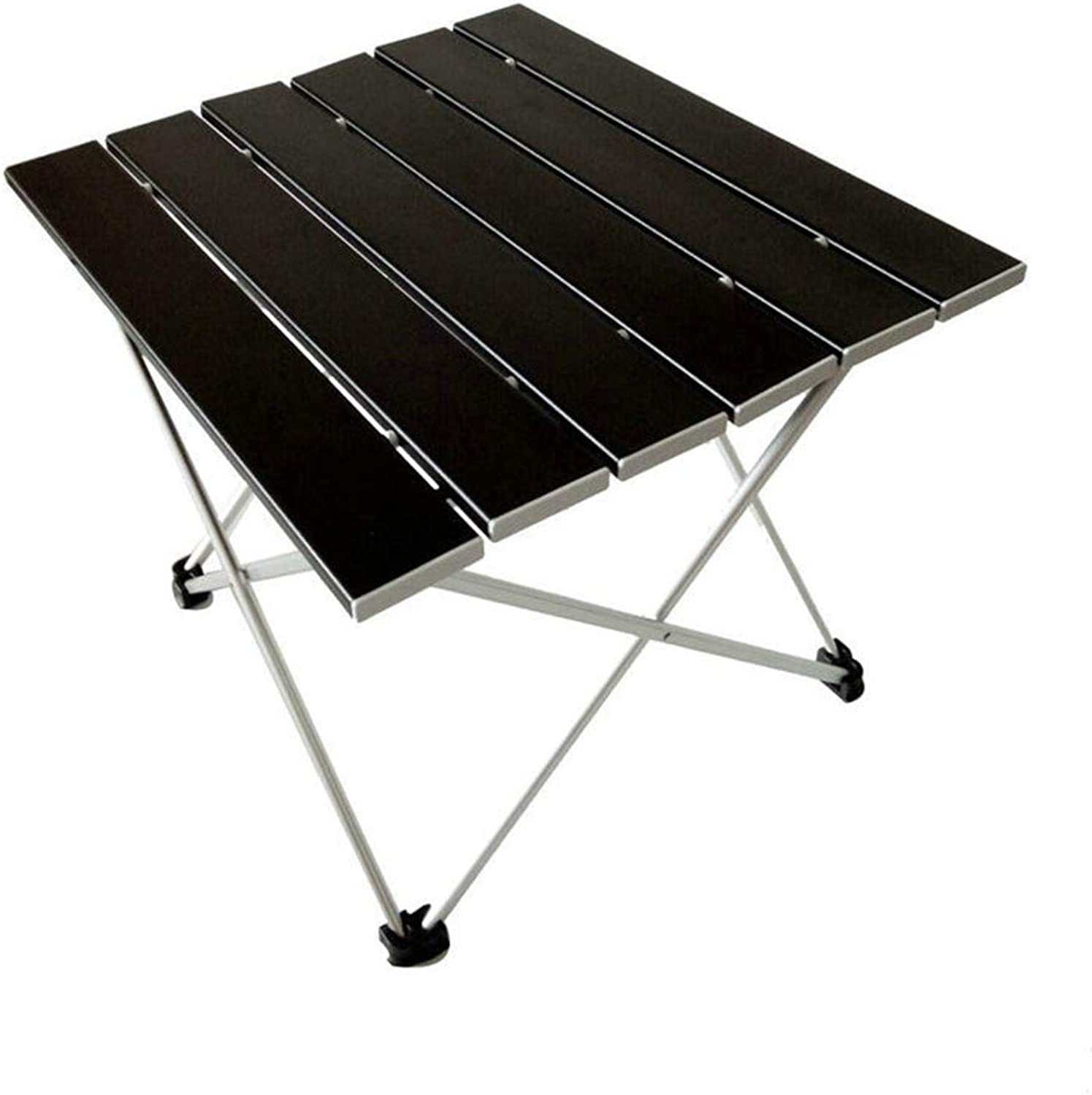 Aluminum Folding Collapsible Camping Table Roll up with Carrying Bag for Indoor and Outdoor Picnic, BBQ, Beach, Hiking, Travel, Fishing (Black)