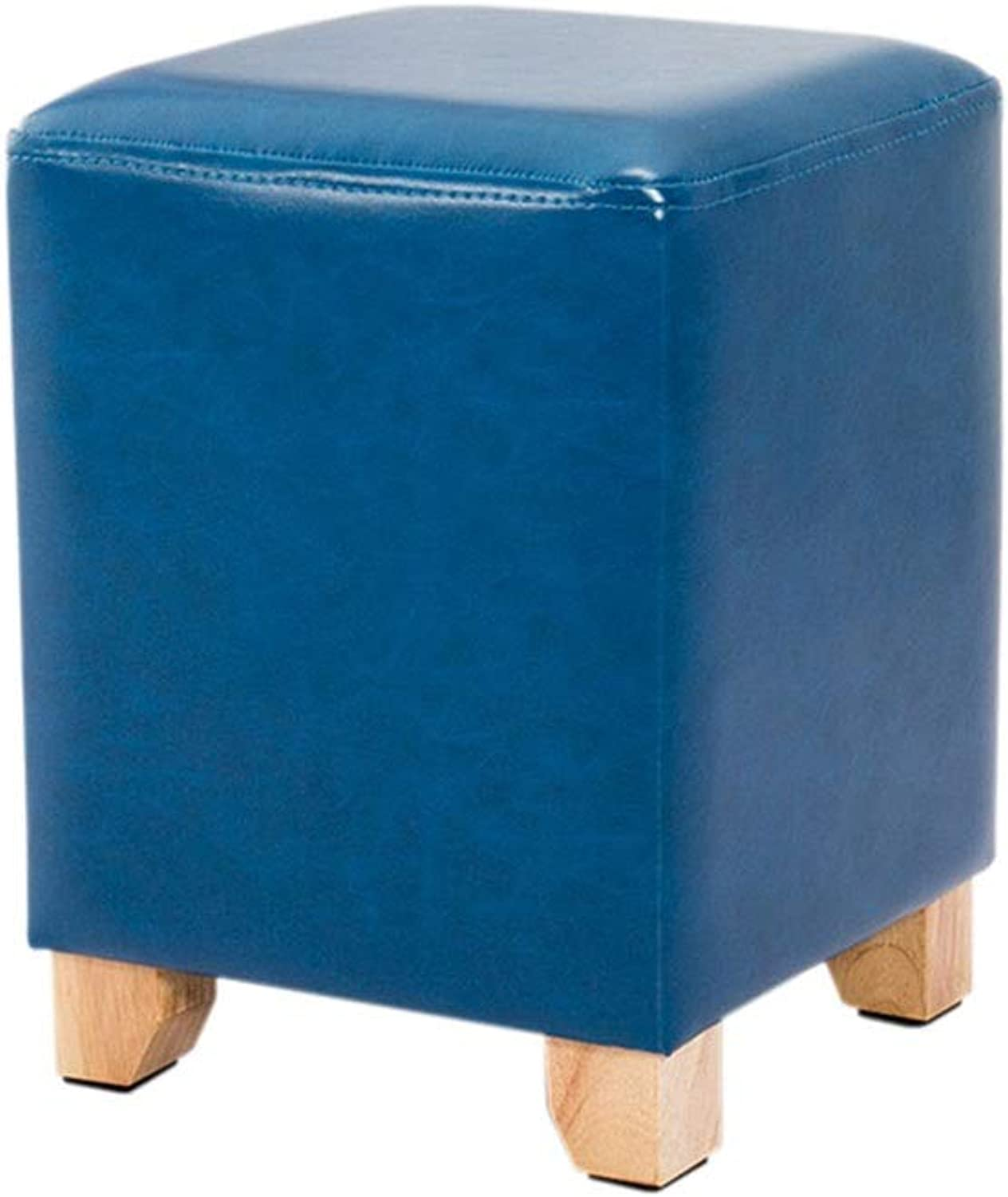 Imitation Leather Change shoes Bench Waterproof Sofa Stool Living Room Footstool Makeup Stool Height 40 × Width 30cm GW (color   bluee)