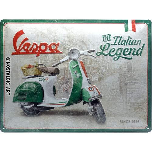 Nostalgic-Art Retro Blechschild - Vespa - Italian Legend, Vintage Geschenk-Idee für Vespa Roller Fans, zur Dekoration, 30 x 40 cm
