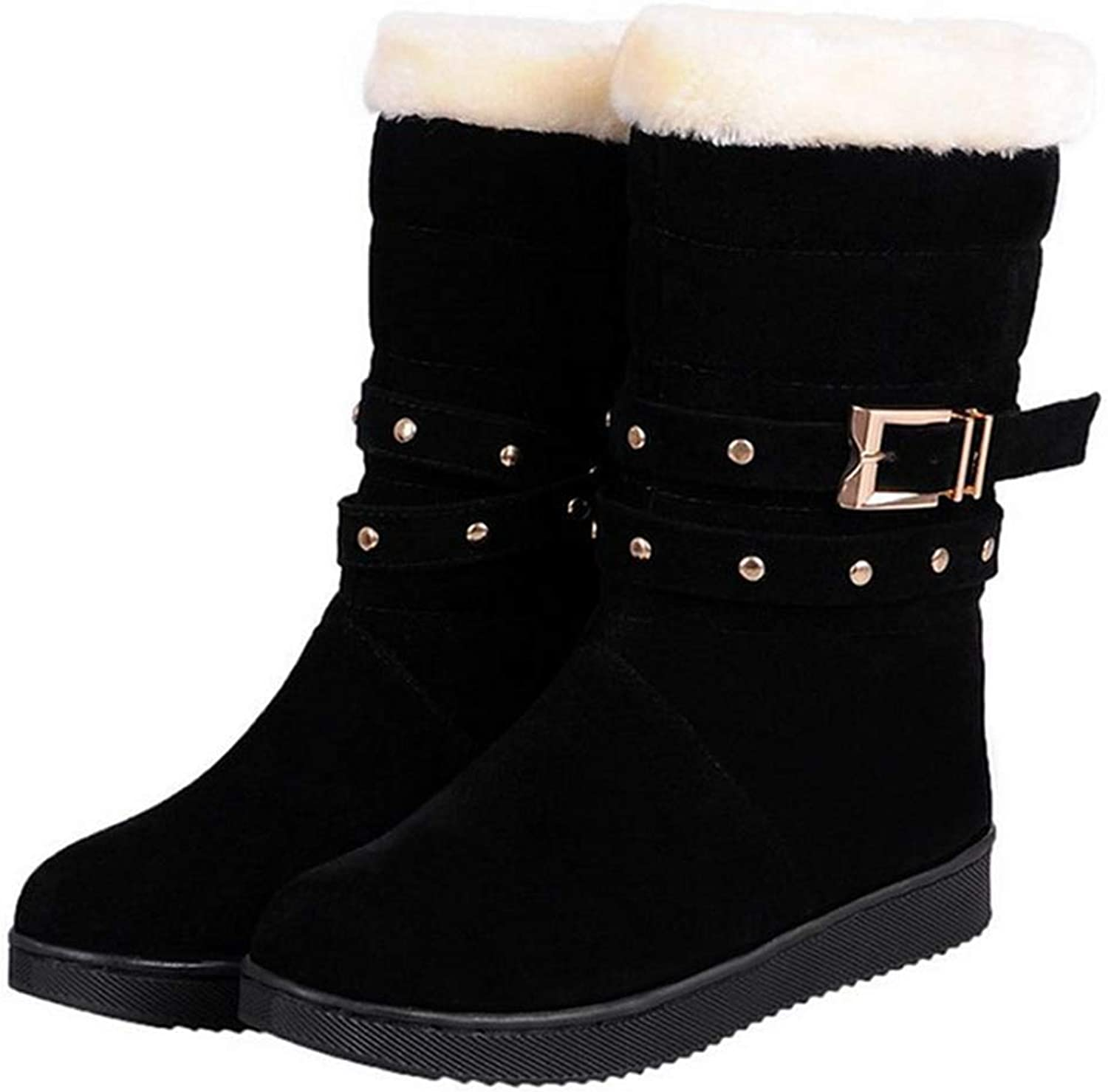Fay Waters Womens Warm Flats Half Short Boots Plush Chunky Mid Calf Round Toe Winter Snow Booties