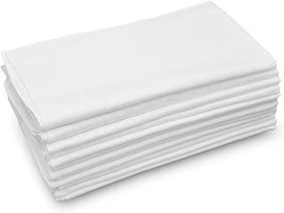 GB Men's Handkerchiefs 100% Cotton Solid White with Stripe Large Classic Hankies Bulk Set