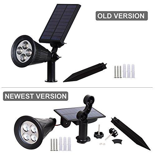T-SUNUS Solar Spotlight, IP65 Waterproof 4 LED Solar Lights Wall Light,Auto-on/Off Security Light Landscape Light 180° Angle Adjustable for Tree,Patio,Yard,Garden,Driveway,Pool Area (2 Pack Green)
