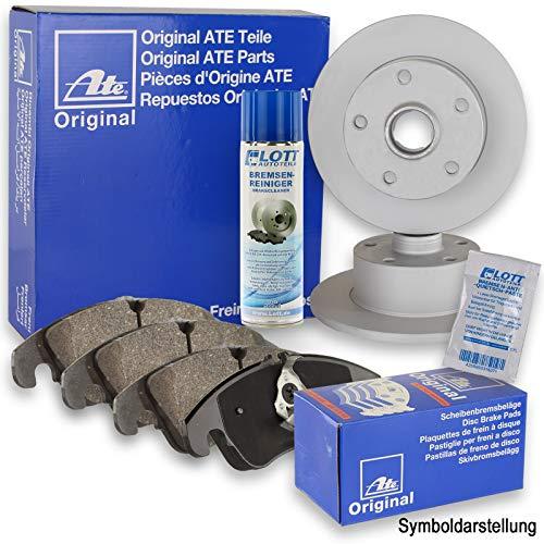 Preisvergleich Produktbild Original ATE Bremsscheiben hinten + ATE Bremsbeläge Bremsklötze Bremsenset Bremsenkit Komplettset Hinterachse + Bremsenreiniger