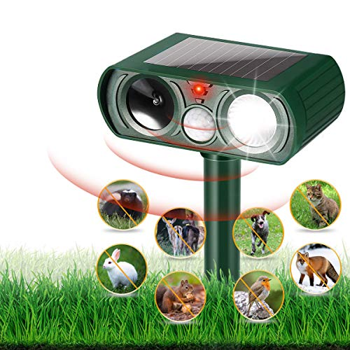 HOPSEM Cat Repellent Ultrasonic Animal Repeller Solar Powered Waterproof Cat Scarer Pest Repeller Motion Activated Sensor Flashing lights Animal Deterrent for Gardens Farm Dogs Fox Birds etc