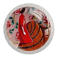 引き出しノブプルハンドル4個 クリスタルガラスのキャビネットの引き出しは食器棚のノブを引っ張る,ローズガール