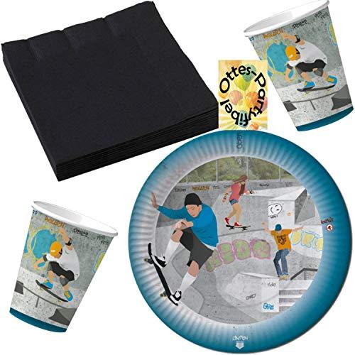 HHO Skatepark Skater Longboard Party-Set 36tlg. für 8 Gäste : Teller Becher Servietten
