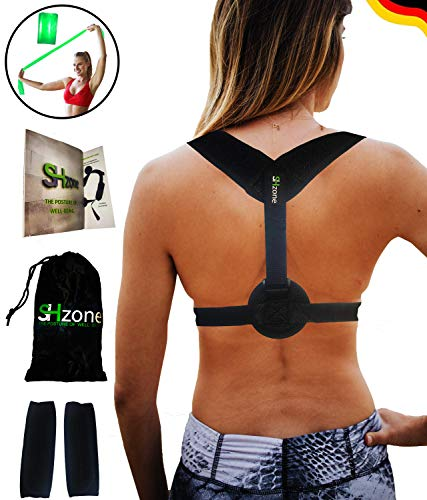 Geradehalter zur Haltungskorrektur - Rückenrichter - Rückengurt - Schultergurt für Gerade Körperhaltung für Damen und Herren inkl. GRATIS FITNESSBAND + FITNESS BOOKLET + 2 SCHULTERPOLSTER