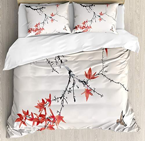 Juego de fundas nórdicas japonesas, ramas de árbol de cerezo en flor de cerezo, imagen de acuarela romántica con temática primaveral, juego de cama decorativo de 3 piezas con 2 fundas de almohada, neg