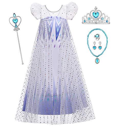 O.AMBW Disfraz de Frozen Reina Elsa Vestido Blanco y Azul con Lentejuelas Capa Manga Puff Vestido de Princesa Accesorio de Regalo de cumpleaos Disfraces para nias de 2 a 10 aos