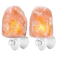 (Upgraded) AMIR Air Purifying Salt Lamp, Natural Himalayan Crystal Salt Light with 4 Bulbs, 11.2oz Mini Hand Carved Night Light, with UL-Certified Wall Plug, Decoration Salt Rock Lamp (2 Pack)