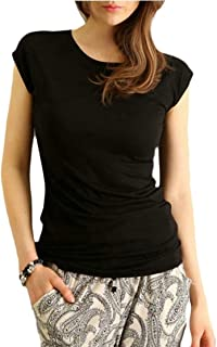 WSPLYSPJY Women's Summer Short Sleeve Solid Casual Tops T-Shirts Blouses