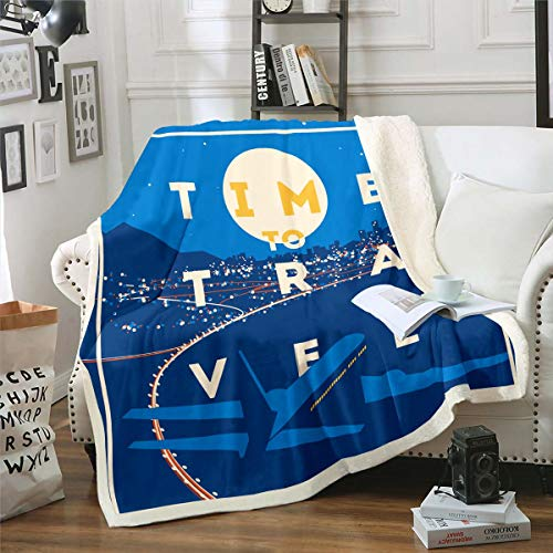 Loussiesd Manta de felpa con impresión de avión, manta de forro polar volador, helicóptero, avión volador, manta sherpa para sofá, cama, dormitorio, decoración de viaje, manta de bebé, 76 x 101 cm