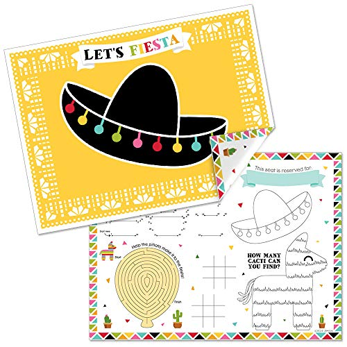 Big Dot of Happiness Let's Fiesta - Paper Mexican Fiesta Birthday Party Coloring Sheets - Activity Placemats - Set of 16