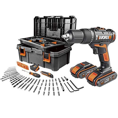 Worx WX371.5 -Taladro Percutor 20V 2,0Ah 2bat + caja con 55 herramientas