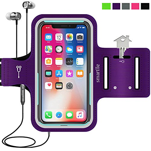 smartlle iPhone & Phone Armband Running Workout Holder for iPhone X/XS,8/7/6s/6, Samsung Galaxy S10/S10E/S9/S8/A/J,Pixel, Moto, with Their Cases on, Fitness Gym Gear for Sports,Exercise,Hiking-Purple
