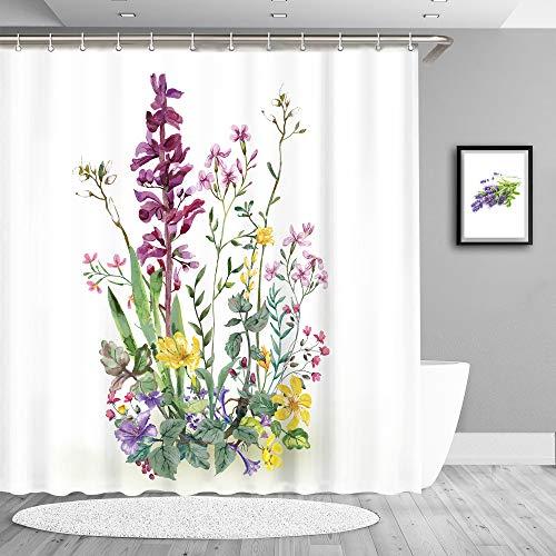 True Holiday Dekorativer Duschvorhang für Badezimmer, Blumen- & Blatt-Design, wasserdichter Stoff, mit 12 Vorhanghaken, 180 x 180cm Lavendel-lila