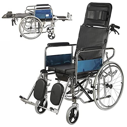 FHISD Cinturón para Silla de Ruedas con Inodoro Manual Plegable con Respaldo Alto reclinable Sentado Semi-reclinado, Plegable de Aluminio, Completamente reclinable para a