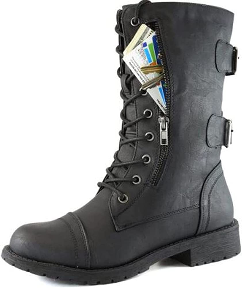 Vimisaoi Womens Mid Calf Boots, Round Toe Military Lace up Knit Ankle Cuff Low Heel Combat Boots