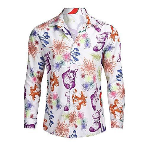 KPILP Herren Hemd Weihnachten 3D Druck Hemd Langarmshirts Button Down T-Shirts Lässig Hawaiihemd Freizeithemd Weihnachten Party Hemd Tops Geschenk