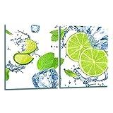 TMK | Juego de 2 cubiertas de 40 x 52 cm para cubrir la vitrocerámica, protección contra salpicaduras, placa de cristal, cubierta de vitrocerámica, tabla de cortar, verde, hielo