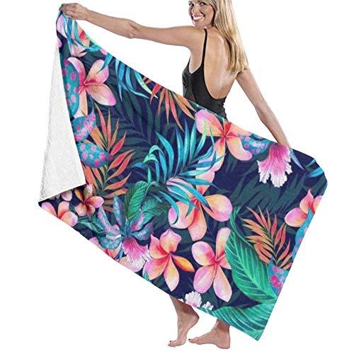Toalla de Playa de Microfibra de Flores Tropicales Hawaianas para Hombres y Mujeres Toalla de baño de Gran tamaño de Secado rápido para Deportes, Viajes, Piscina, Playa, Gimnasio, baño