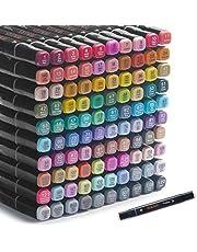 100 kleuren kunststiften Op alcohol gebaseerde markers, dubbele tips Op alcohol gebaseerde markers, professionele kunststiften, 1 Fineliner-pen en 1 markeerstift met etui, schetsstiften voor schilderen, kleuren en tekenen