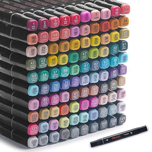 Rotuladores alcohol copic Marcadores permanente 100 colores marcadores artísticos, bolígrafo profesional de doble punta, permanente para adultos y niños, marcadores de bocetos a base de alcohol