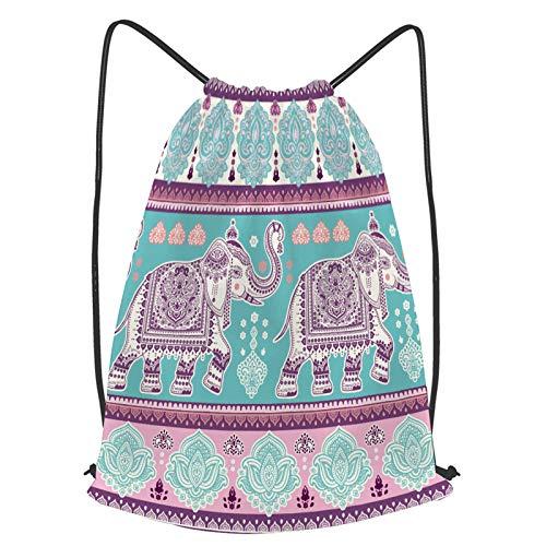 YMWEI Impermeable Bolsa de Cuerdas Saco de Gimnasio hermoso, elefante indio, seamless, patrón, vector Deporte Mochila para Playa Viaje Natación