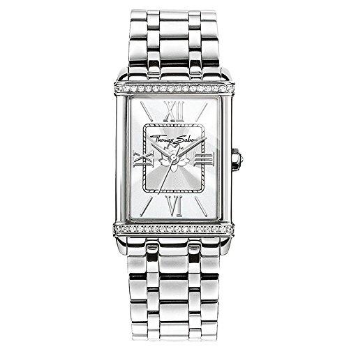 THOMAS SABO Damen Analog Quarz Uhr mit Edelstahl Armband WA0231-201-201-32x25 mm