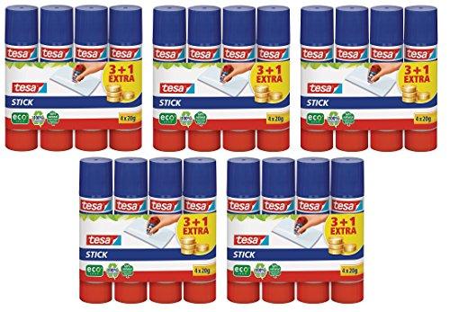 5x tesa Klebestift, rund, ökologisch, 3+1 gratis, 20g | 20 Sticks (5, 20g)