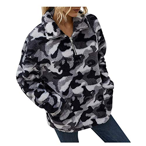 WMNU Womens New Hoodie Sweatshirt Female Loose Pullover Tops Autumn And Winter Printed Plush Zipper Sweater Mesh Shirt Black