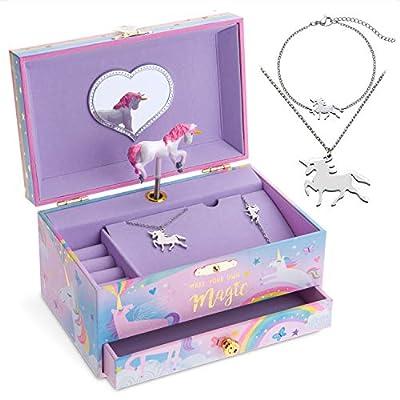 Jewelkeeper Unicorn Music Box & Little Girls Jewelry Set - 3 Unicorn Gifts for Girls