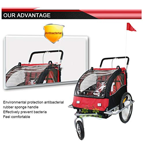 QQLOV Kids Bicycle Trailer 2 in 1 Bike Trailer/jogger 2 Seats Child Stroller with Suspension Mountain Bike Trailer Transport Trolley Red