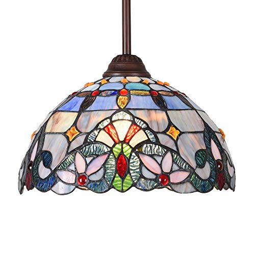 Maxxmore Tiffany Pendant Lighting Victorian Hanging Lamp Ceiling Lights Chandelier Stained Glass Lamps 12' Wide Kitchen Dining Room