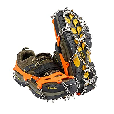 MIRACOL Crampons Ice Cleats Traction Snow Grips 19 Spikes Walk Traction with Anti-Slip Stainless Steel Spikes for Men Women Hiking Walking Jogging Mountaineering Orange (X-Large)