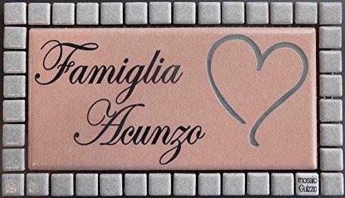 Mosaici Guizzo Targhetta in Ceramica incisa+Cornice_Colori Rosa Tenue e Grigio Chiaro