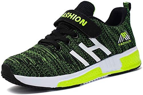 Atmungsaktiv Turnschuhe Jungen Hallenschuhe Kinder Sneaker Mädchen Bequeme Schuhe Outdoor Laufschuhe für Unisex-Kinder 28-37 (28 EUschwarz Grün)
