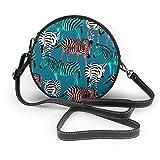 BAODANLA Bolso redondo mujer Shoulder Bags Women Round Bags Colorful Zebra Pattern Crossbody Leather Circle Bag