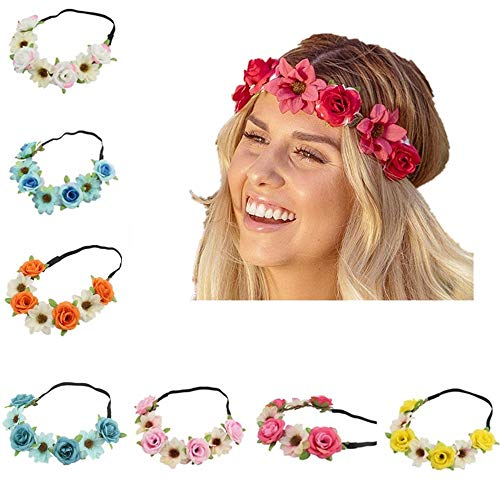 BJ-SHOP Lot de 8 élastiques à cheveux avec couronne de fleur hawaïenne Luau