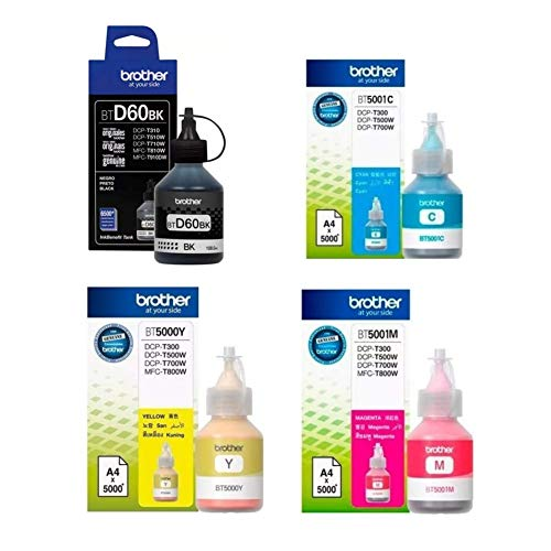 Brother Pack Kit 4 Botellas Tinta BTD60BK Negro – Color BT5001Y BT5001C BT5001M Originales Compatibles…
