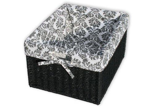 KMH®, Praktische Korb-Box JYTTE im Rattan-Look (schwarz mit Muster) (#204051)