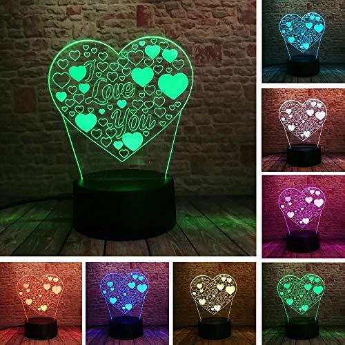3D Illusion Love Heart Lámpara Led Con I Love You 7 Color Flash Rgb Night Lamp As Couple & Amp;Regalos De Cumpleaños De Los Amantes Del Juguete De Navidad