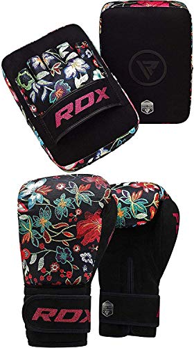 RDX Women Boxing Pads and Gloves Set, Ladies Hook and Jab Target Focus Mitts with Punching gloves, Hand Pads for MMA, Martial Arts, Muay Thai, Kickboxing, Karate Training Padded Coaching Strike Shield