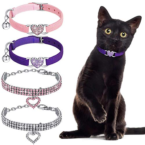 Weewooday 4 Pieces Rhinestone Cat Collar Heart Bling Breakaway Cat Collar Valentine's Day Cat Collar Soft Velvet Collar with Rhinestone Love Heart Adjustable Safety Cat Collar with Bell for Kitty (S)
