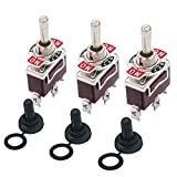 3pcs Switch Toggle Rocker Heavy Duty with Boot for 20A 125V SPDT 3 Position 3 Pin ON-Off-ON Toggle Switch + 3pcs Waterproof Cover Ten-1122